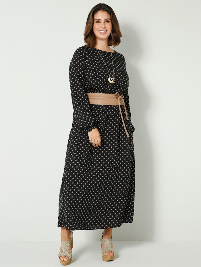 Maxi-jurk met plooitjes in de taille