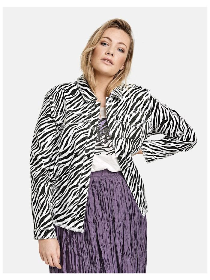 Samoon Jeansjacke mit Zebra-Print Organic Cotton, Black gemustert