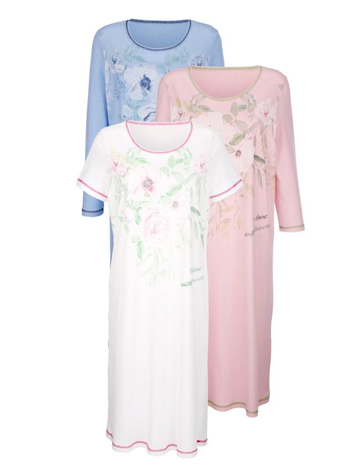 Harmony Nachthemden im 3er-Pack mit drei unterschiedlichen Ärmellängen, Weiß/Rosé/Hellblau
