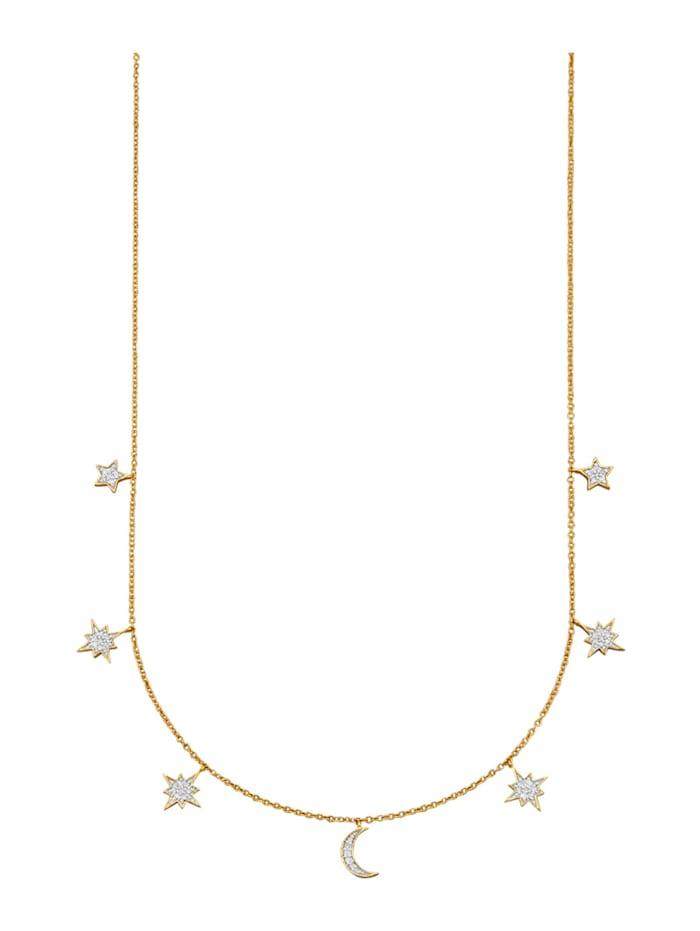Collier mit Diamanten, Gelbgoldfarben