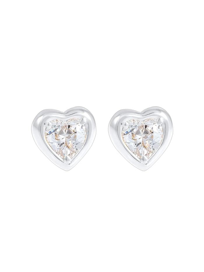 Ohrringe Herz Liebe Symbol Zirkonia Kristalle 925 Silber