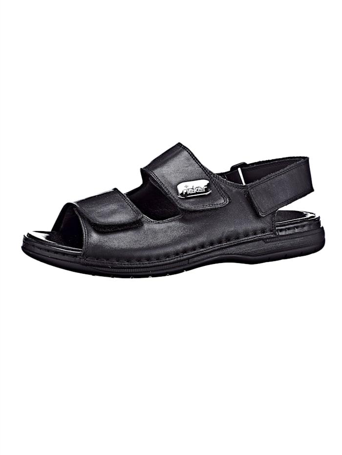 Rieker Sandale mit praktischen Klettverschlüssen, Schwarz
