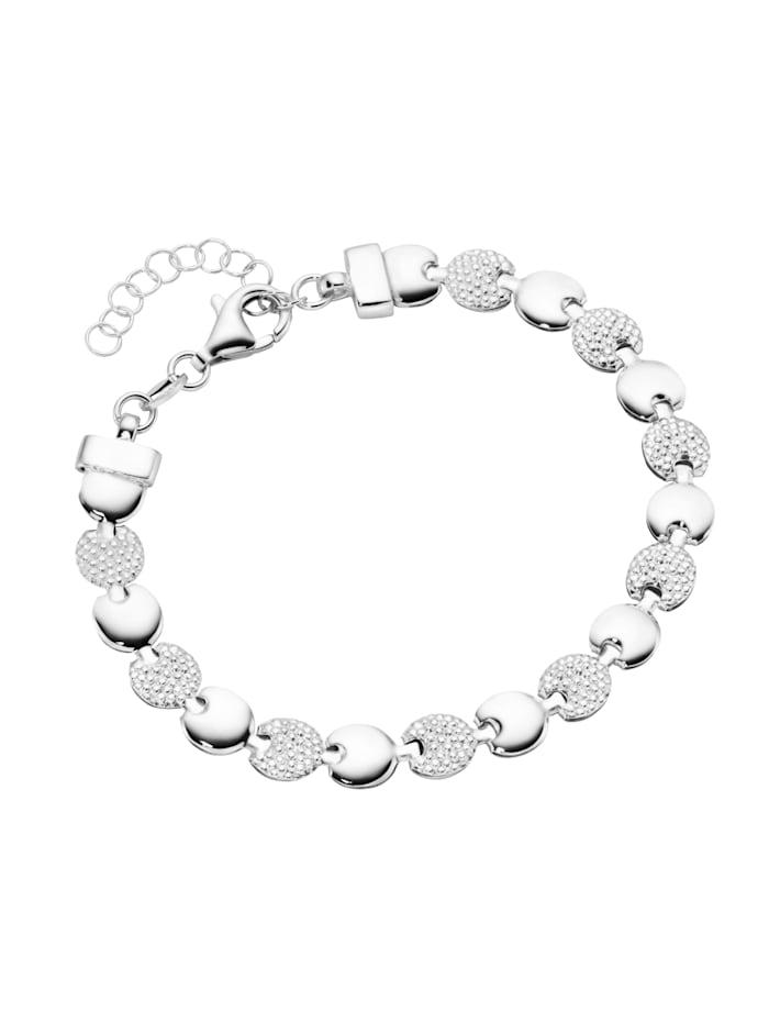 Smart Jewel Armband linsenförmige Silberelemente, Silber 925, Silber