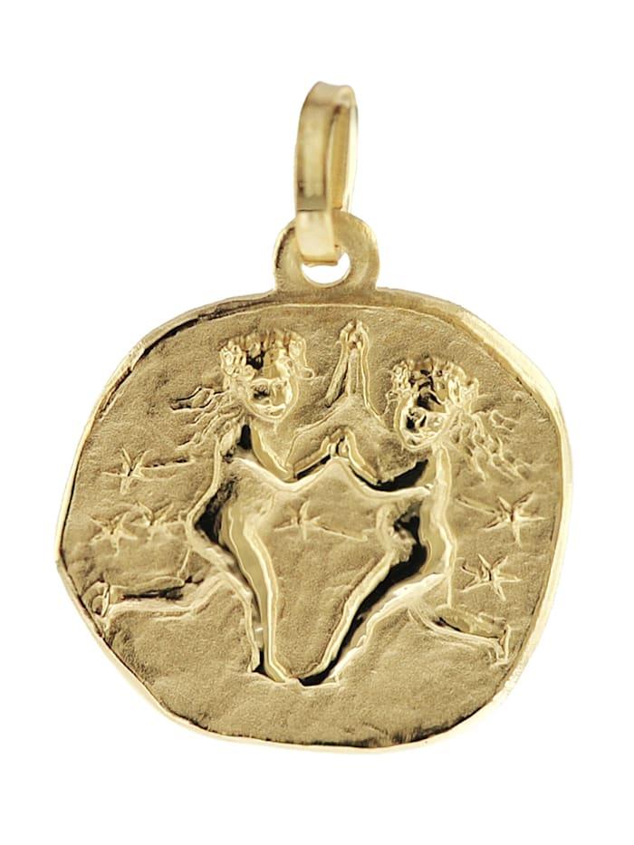 trendor Sternzeichen-Anhänger Zwilling 333 Gold 16 mm, Goldfarben