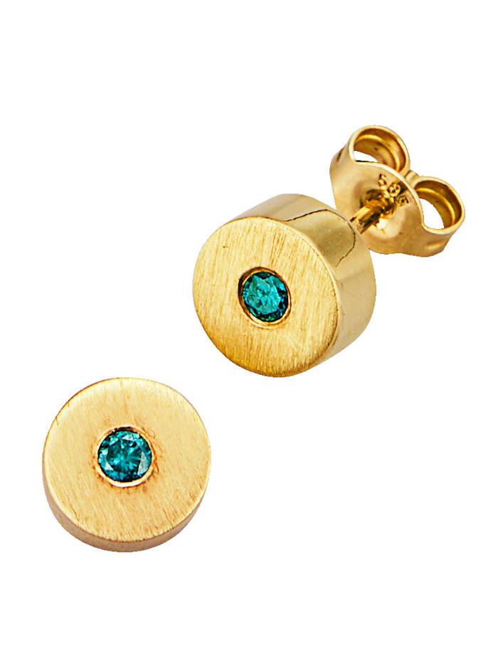 Diemer Diamant Ohrstecker mit blauen Brillanten, Blau
