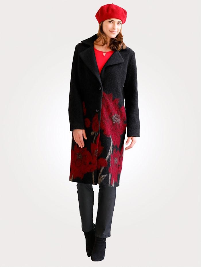 Manteau en laine foulée à motif fleuri