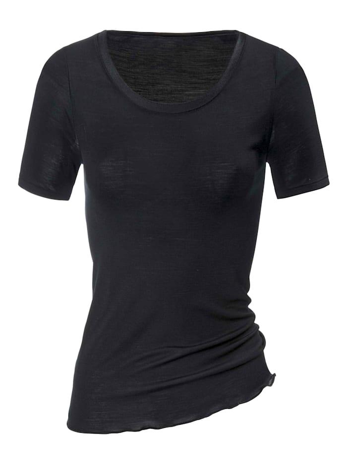 Calida Kurzarm-Shirt aus Wolle-Seide STANDARD 100 by OEKO-TEX zertifiziert, Black