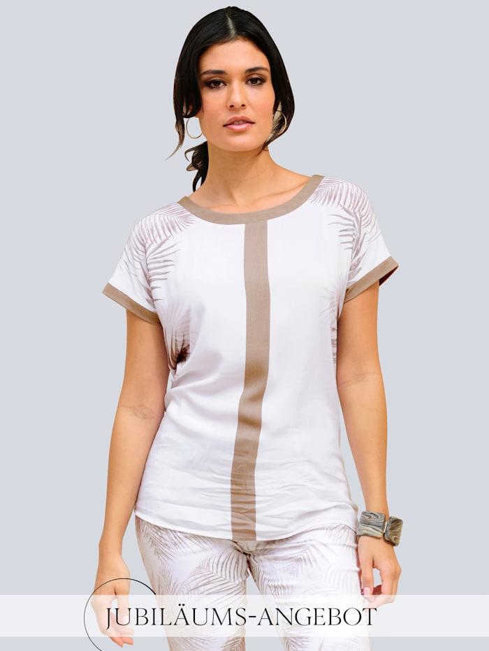 Alba Moda Shirt im exklusiven Alba Moda Druck, Weiß/Haselnuss/Beige