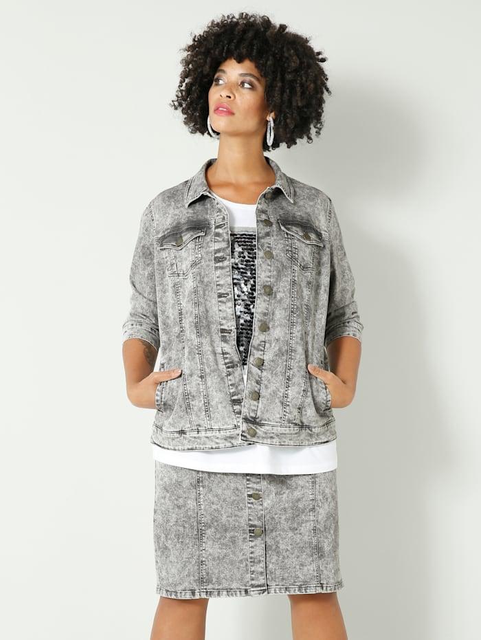 Angel of Style Spijkerjasje in moonwashed look, Grey
