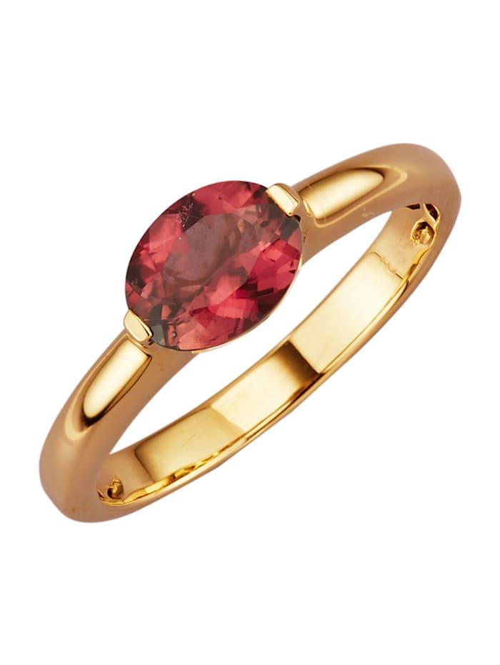 Diemer Farbstein Damenring in Gelbgold 585, Rosé