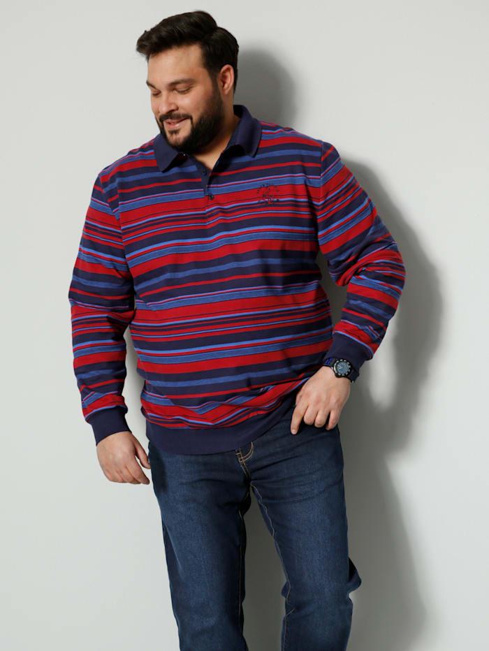 Men Plus Sweatshirt aus reiner Baumwolle, Marineblau/Rot
