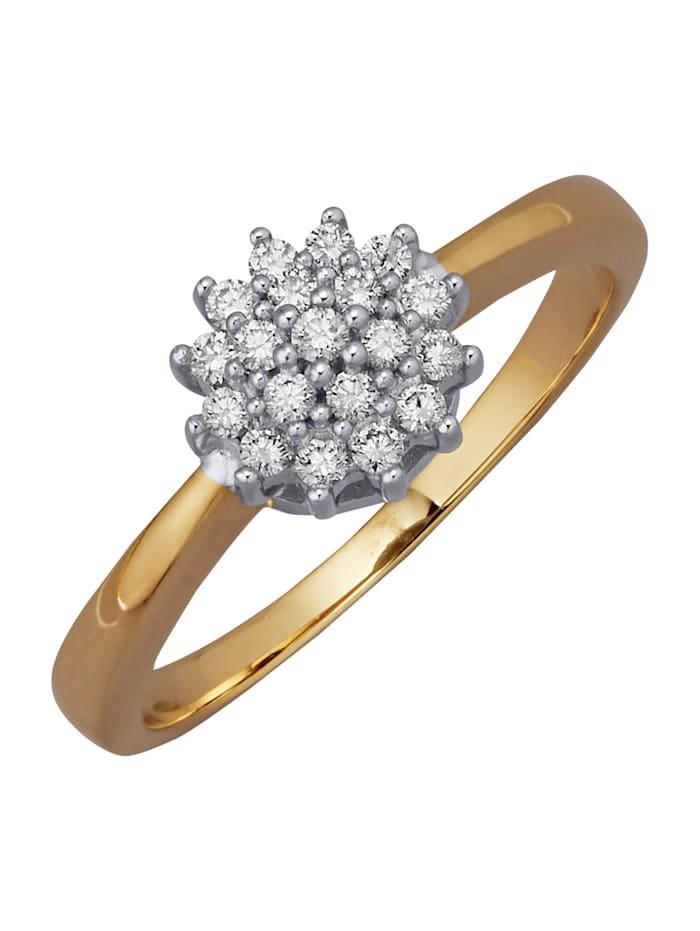 Diemer Diamant Damenring mit 19 Brillanten, Weiß