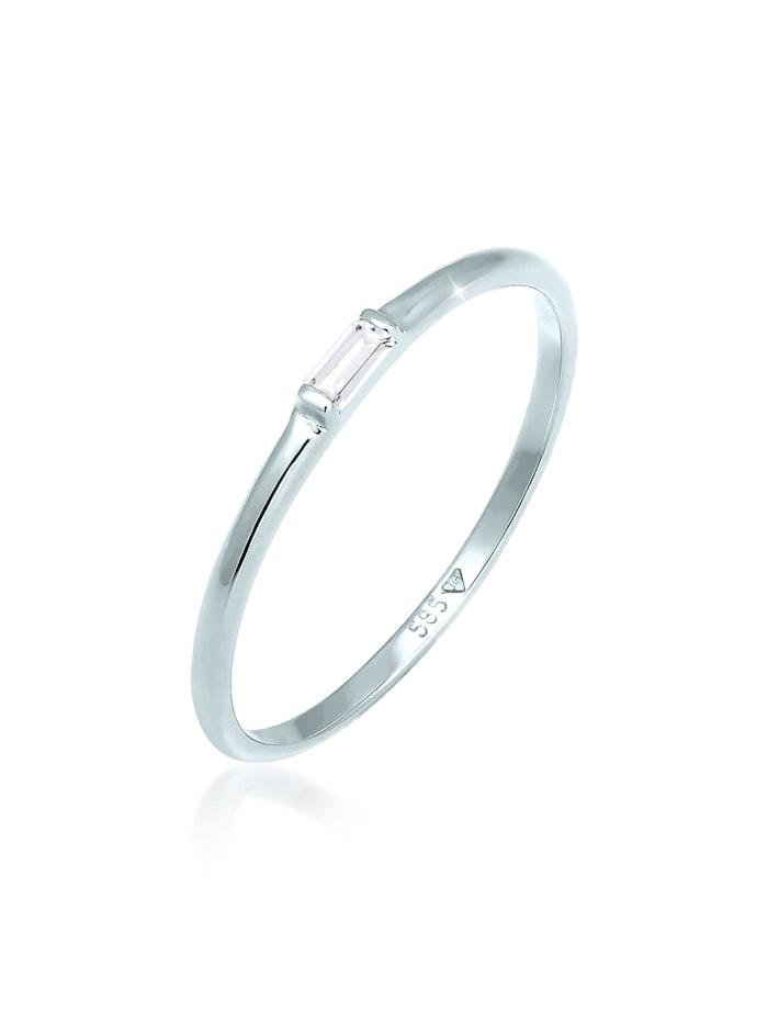 Elli Premium Ring Stapelring Topas Rechteck Verlobung 585 Weißgold, Weiß