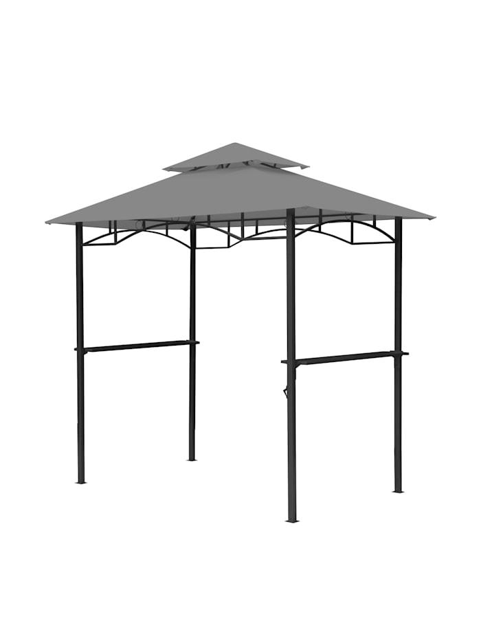 Ersatzdach für BBQ Grill Pavillon  1,5x2,4m Grau Unterstand Doppeldach  Gazebo