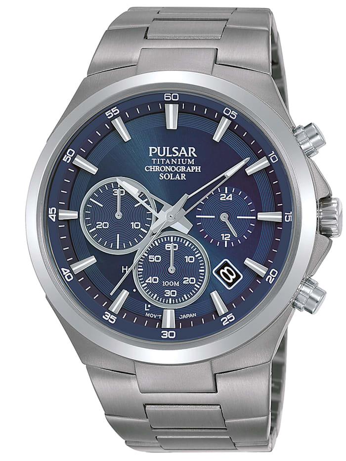 Pulsar Herrenuhr Titan Solar Chronograph, Blau