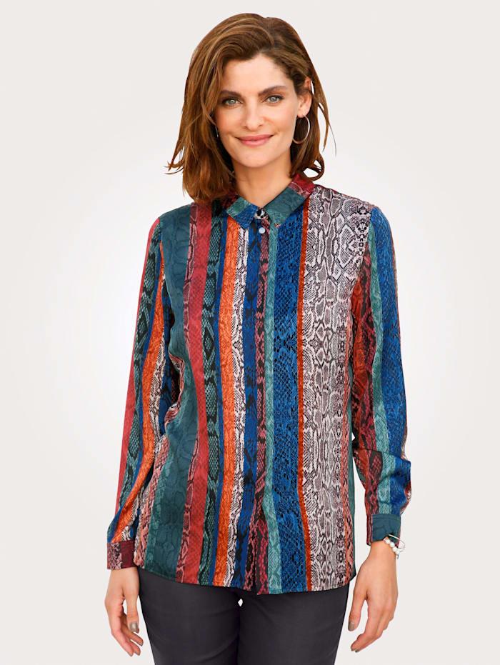 MONA Bluse mit farbenfrohem Reptildruck, Multicolor