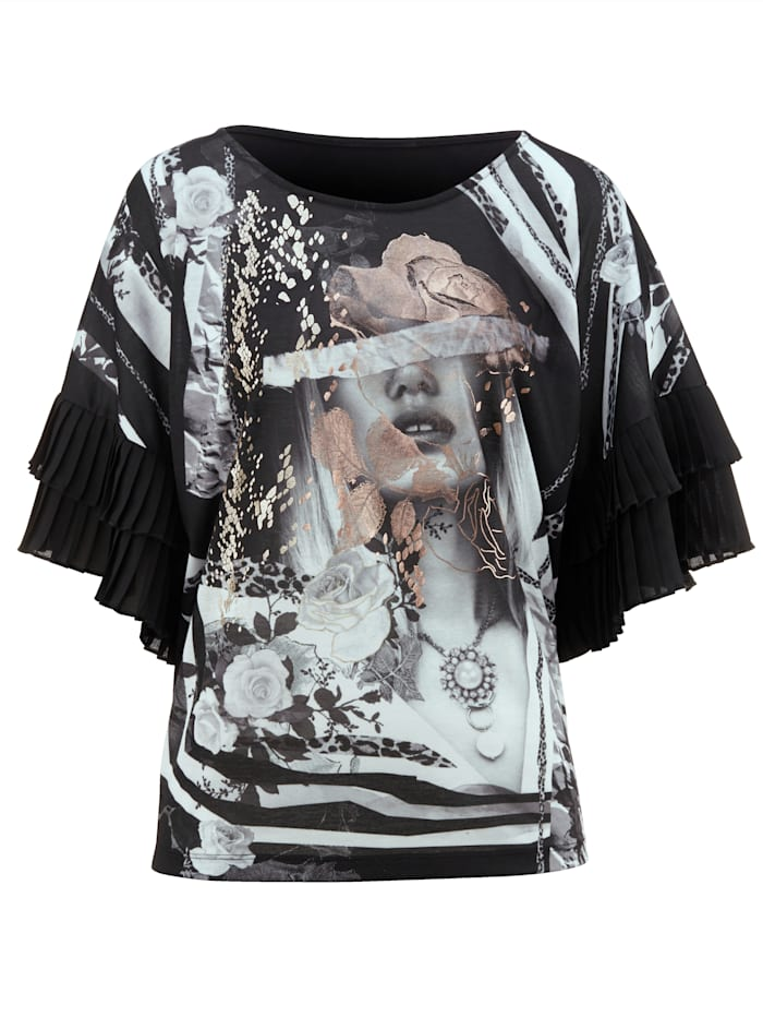 Shirt mit Plissee am Ärmel