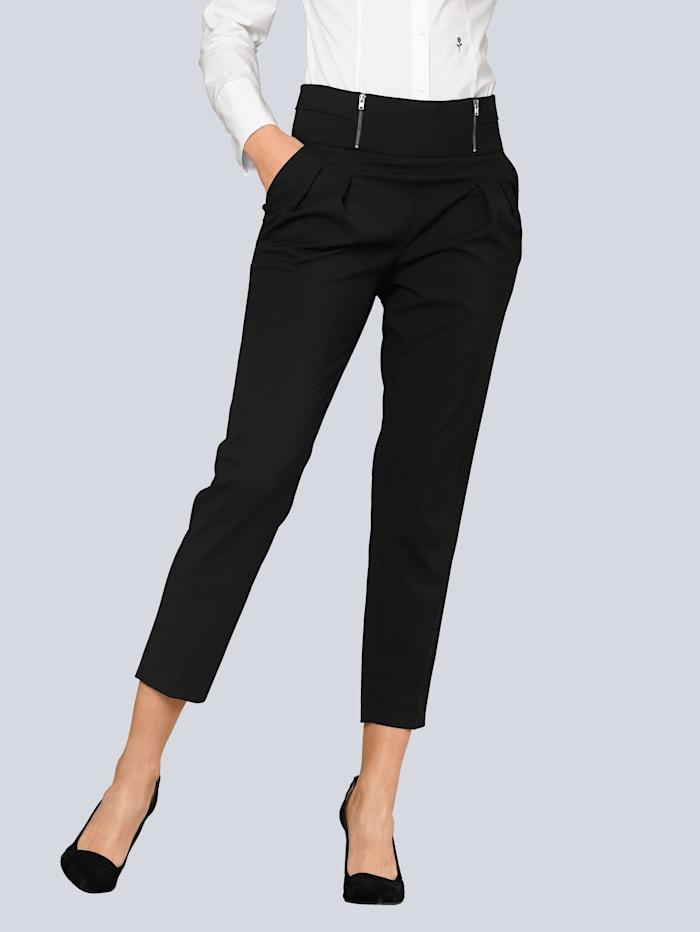 Alba Moda Broek met zipperdetail aan de band, Zwart