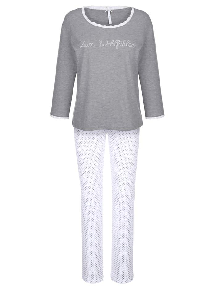 Pyjama met opengewerkt kant