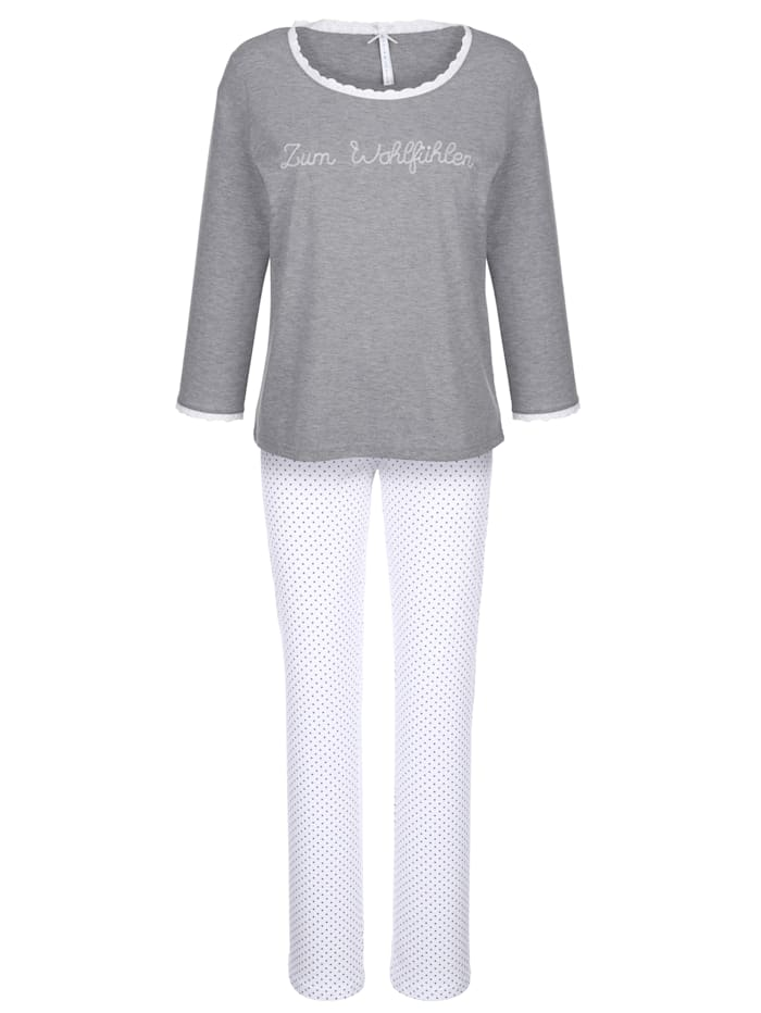 Louis & Louisa Schlafanzug mit hübscher Lochspitze, grau meliert/weiß