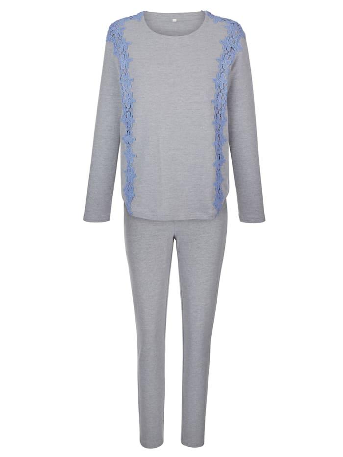 Simone Joggingpak met elegante kanten applicaties, Grijs/Lichtblauw