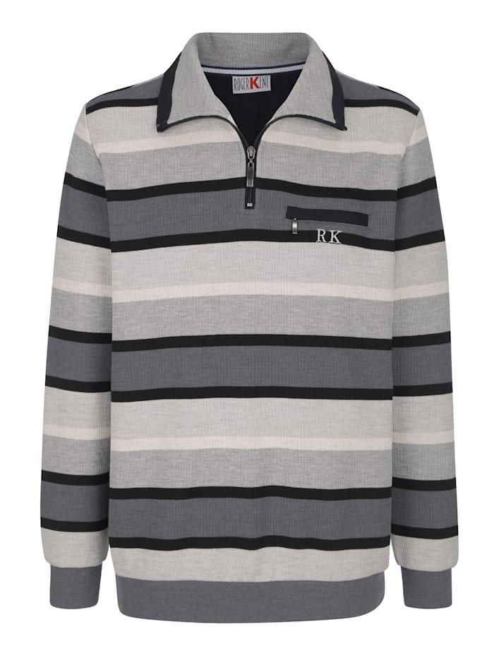 Roger Kent Sweatshirt med bröstficka, Grå/Antracitgrå