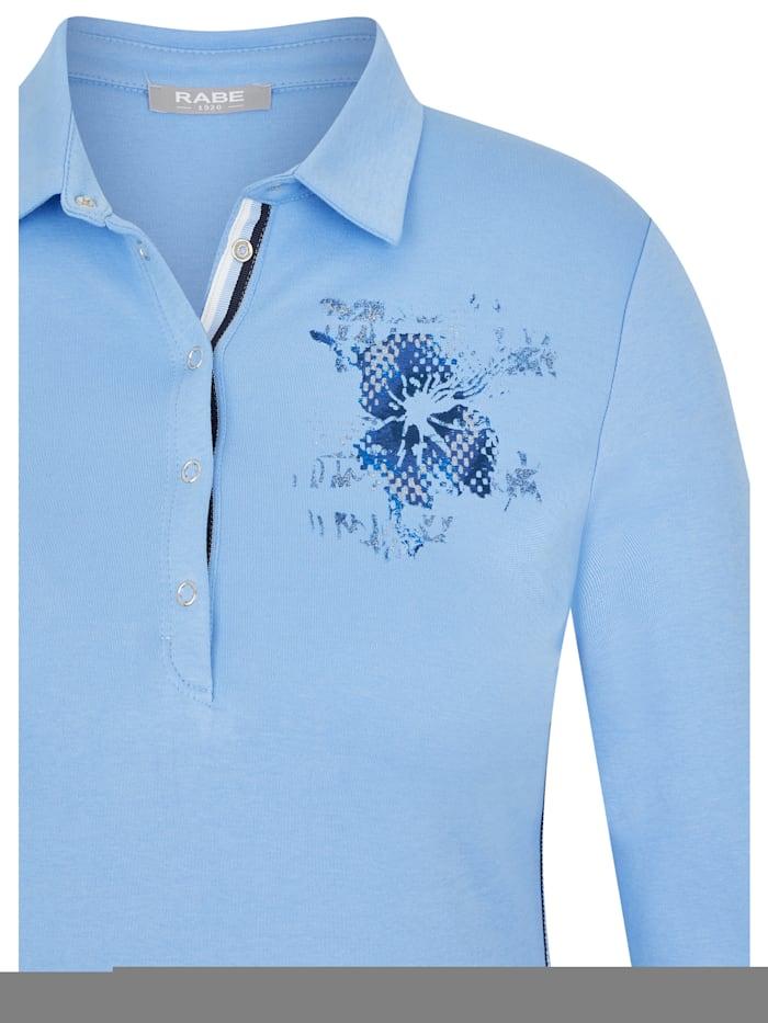 Shirt mit unifarbenem Stoff und Blumenprint