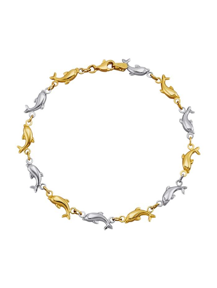 Amara Or Bracelet dauphin en or jaune 585, Coloris or jaune