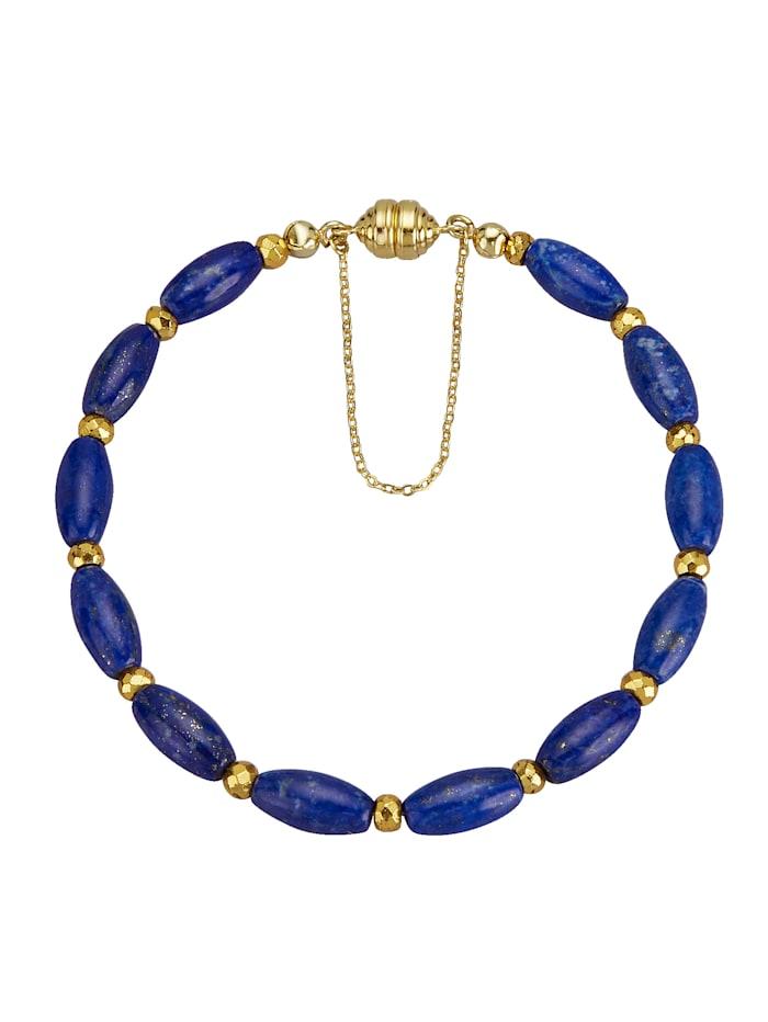 Diemer Farbstein Armband mit Lapislazuli und Pyrit, Blau