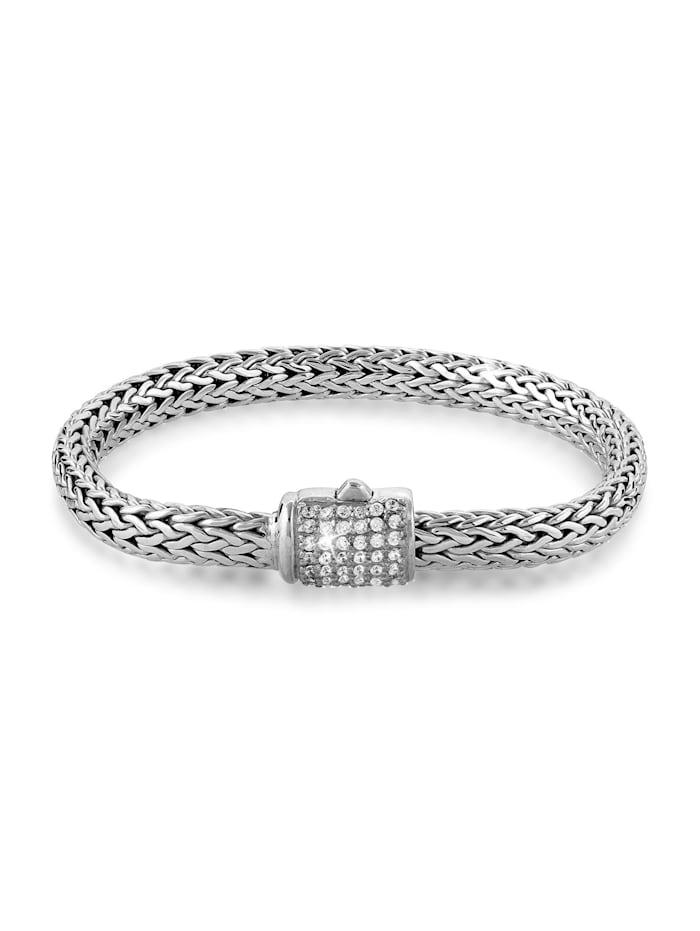 Kuzzoi Armband Herren Panzerarmband Zirkonia Kristalle 925 Silber, Silber
