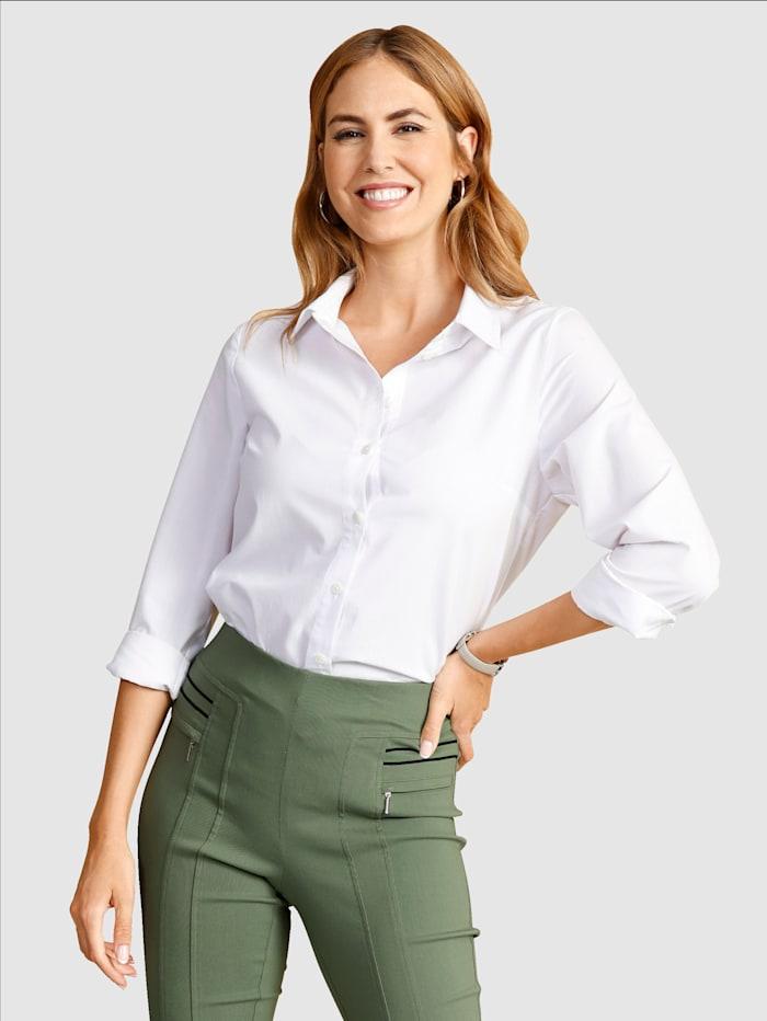 Paola Bluse mit klassischem Hemdkragen, Weiß