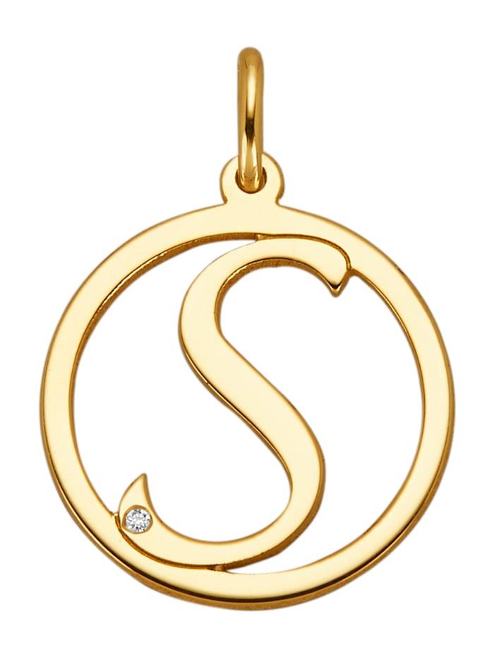 Buchstaben-Anhänger mit 1 Diamant S, Gelbgoldfarben