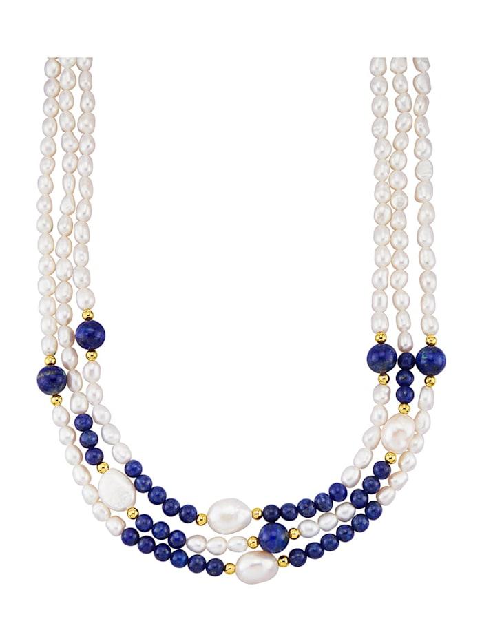 Halsband med odlade sötvattenspärlor och lapis lazuli, Flerfärgad