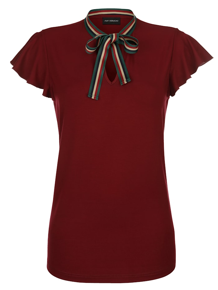AMY VERMONT Shirt mit dekorativem Ripsband, Bordeaux