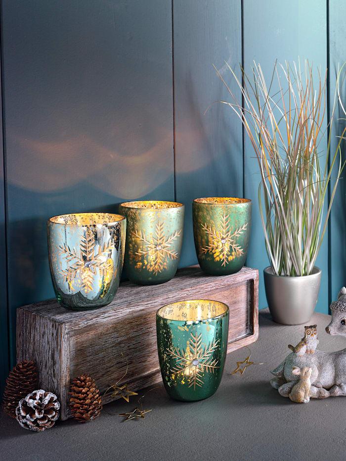 Set van 4 waxinelichthouders Sneeuwvlokken, Multicolor