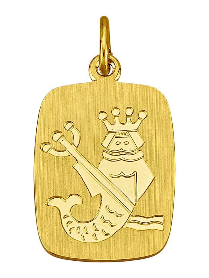 Sternzeichen-Anhänger, Wassermann in Gelbgold 333, Gelbgoldfarben