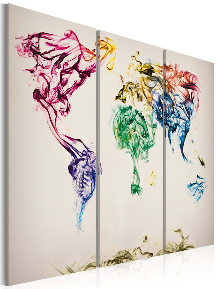 artgeist Wandbild Weltkarte - bunte Rauchfahnen - Triptychon, Grau