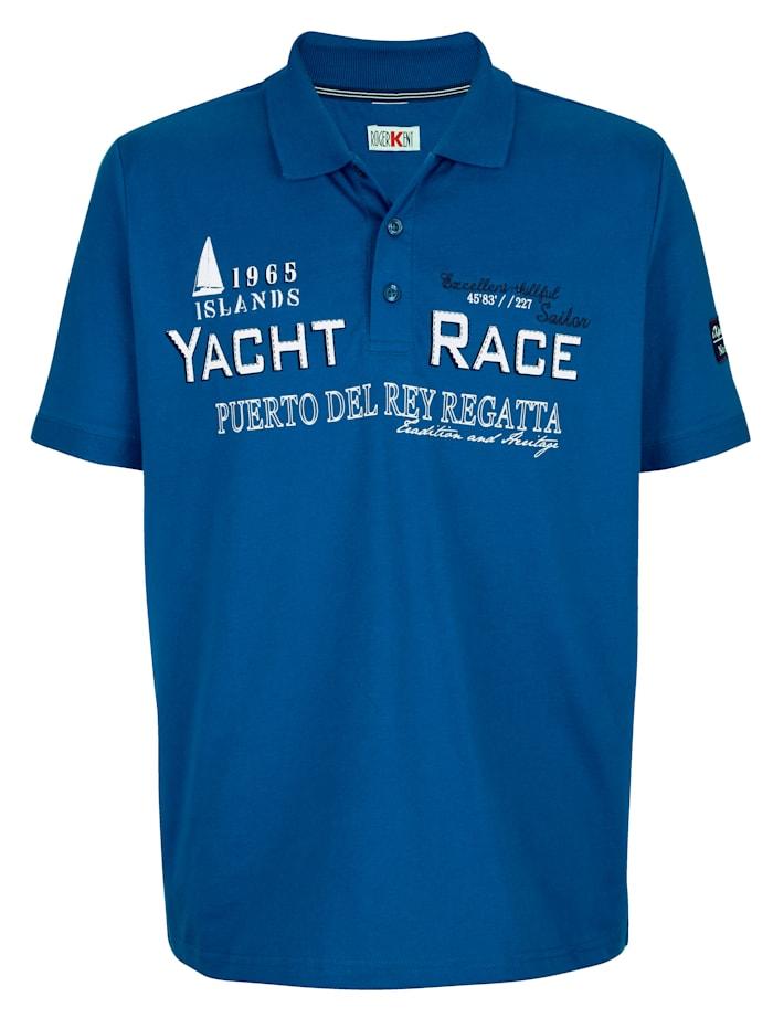 Roger Kent Poloshirt met print en borduursel, Blauw