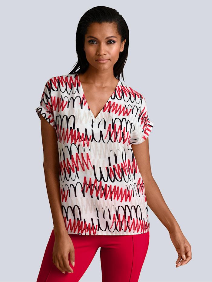 Alba Moda Bluse mit Linien-Dessin, Weiß/Rot/Schwarz