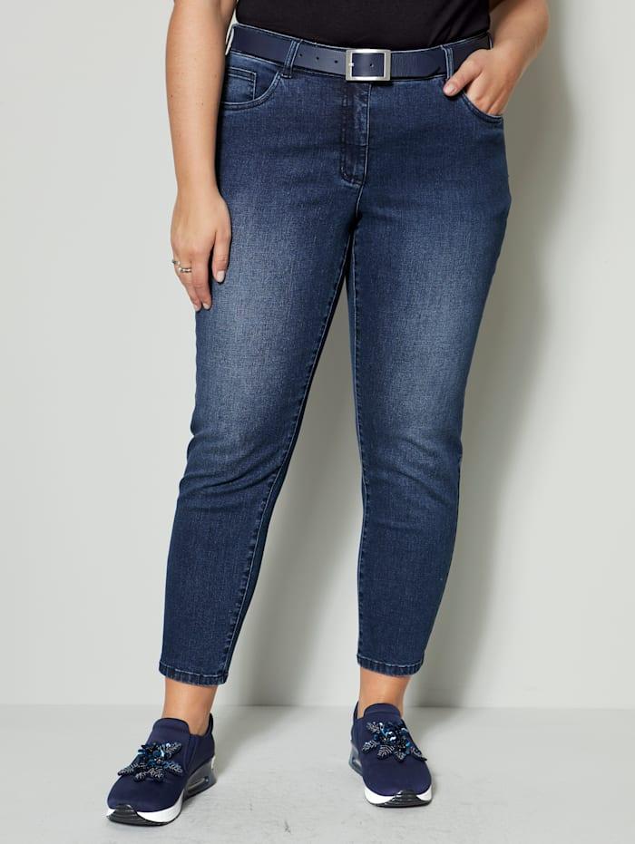 Sara Lindholm Jeans mit recyceltem Polyesteranteil, Dark blue
