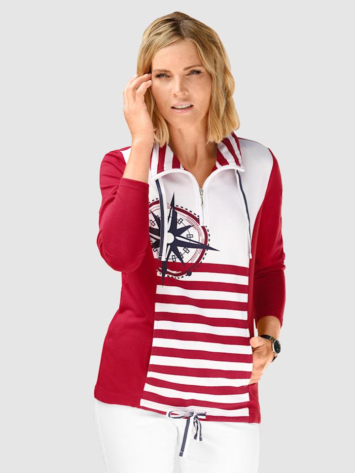 Paola Sweatshirt mit maritimen Druckdetails, Weiß/Rot/Marineblau