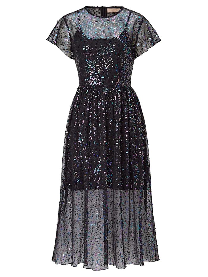 SIENNA Kleid aus Mesh mit Pailletten, Schwarz