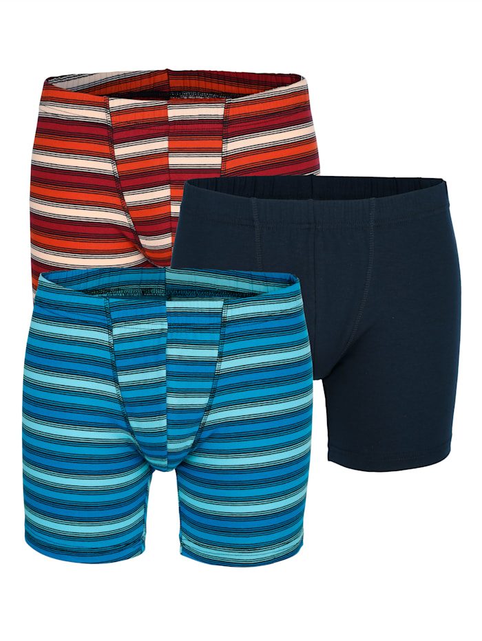 Boxershorts, Blauw/Marine/Koraal