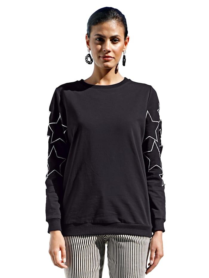 AMY VERMONT Sweatshirt met cut-outs, Zwart/Zilverkleur