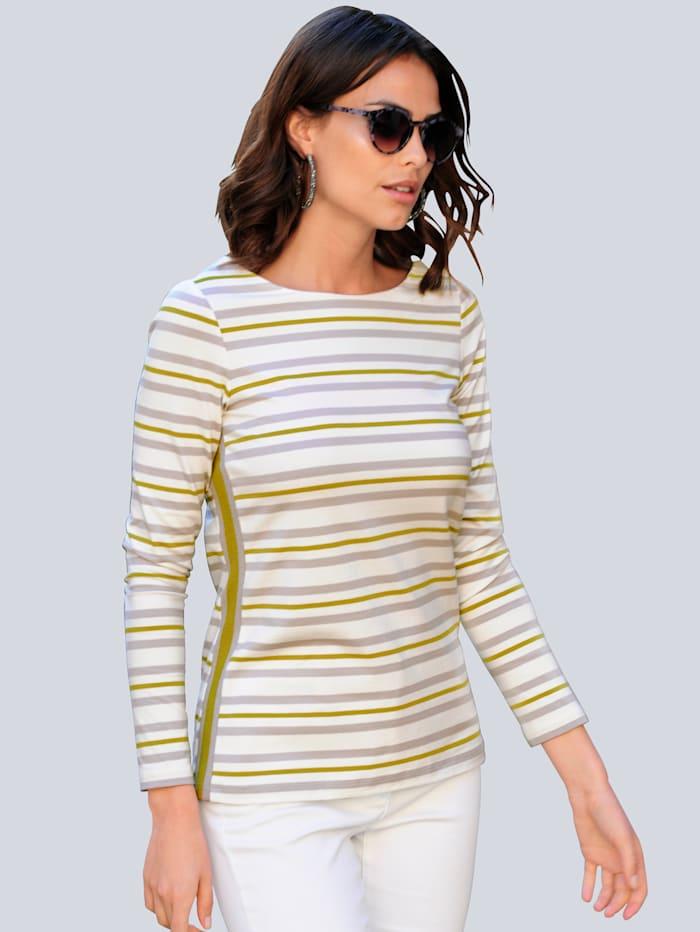 Alba Moda Shirt im maritimen Streifendessin, Off-white/Grau/Limettengrün