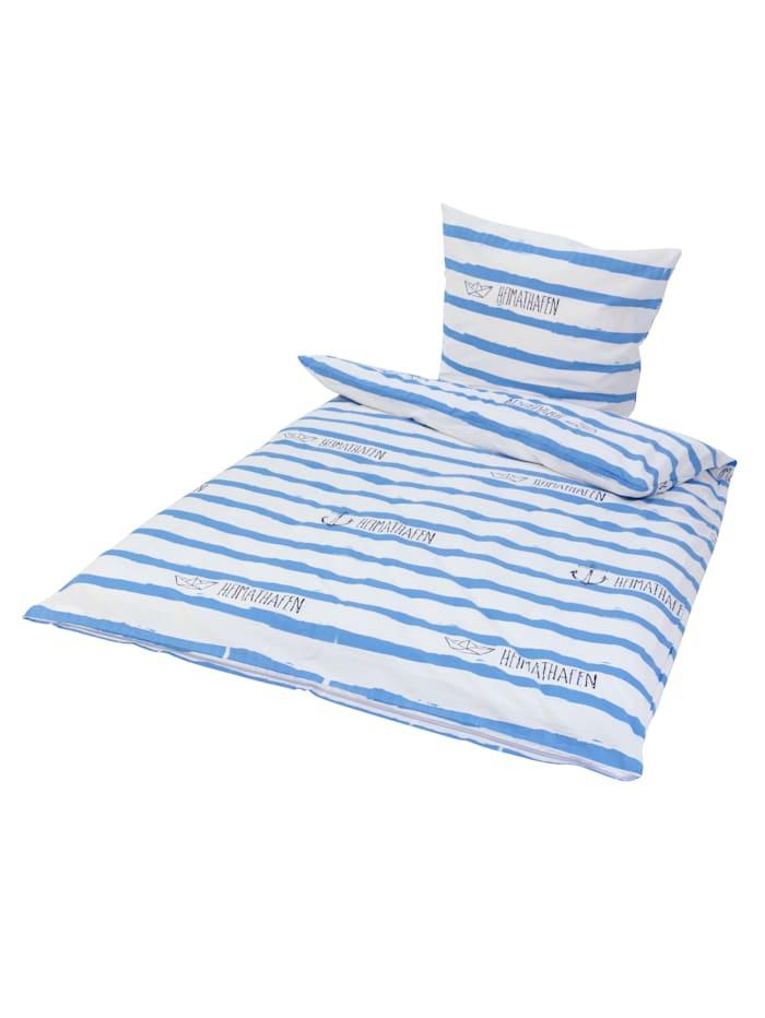Florella Bettwäsche, weiß/blau