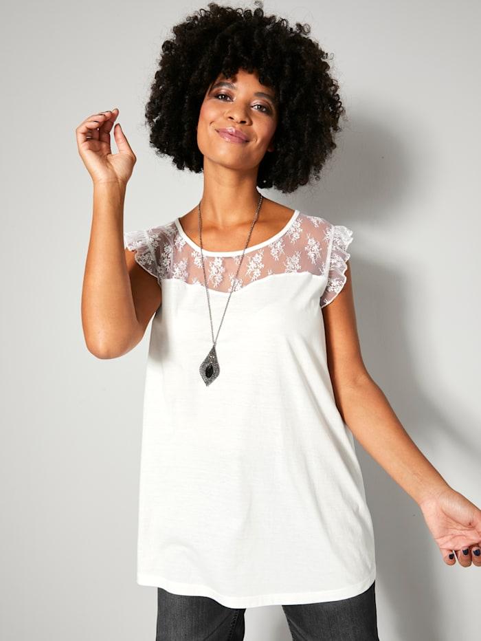 Angel of Style Top mit Spitzen-Rüschen am Armausschnitt, Off-white