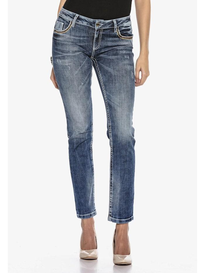 Jeanshose mit Stickerei auf den Gesäßtaschen in Straight-Fit