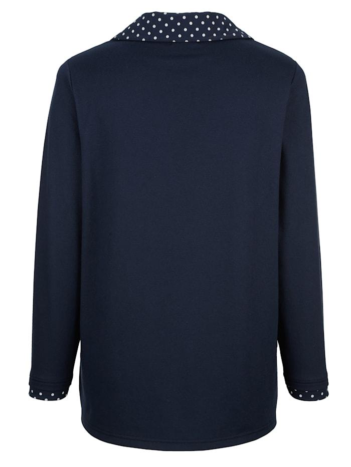 Sweatshirt met gestippelde inzet aan de kraag en mouwen