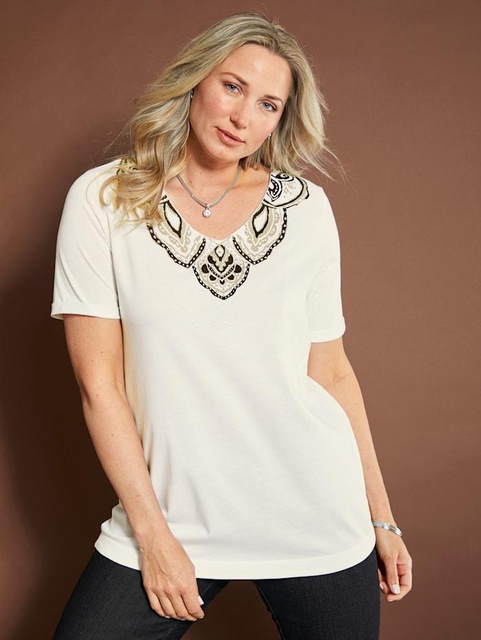 MIAMODA Shirt mit Druck und Perlen am Ausschnitt dekoriert, Creme-Weiß